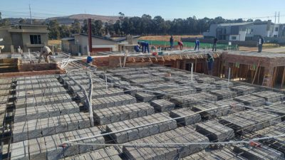 image showing rib & block slab and electrical conduit installation