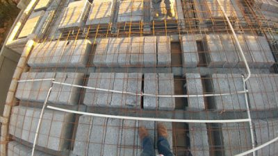 image showing rib & block slab with mesh and electrical conduit pipe