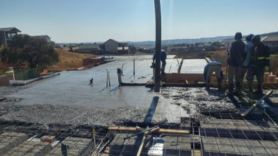 image showing rib & block slab and pouring of concrete